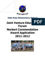 Hale Kula Elementary Joint Venture Education Forum Norbert Commendation Award Application 2011-2012