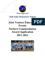 Hale Kula Elementary Joint Venture Education Forum Norbert Commendation Award Application 2011 - 2012