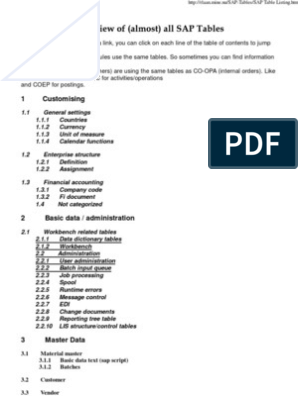 Tables in SAP (almost all) pdf   Electronic Data Interchange