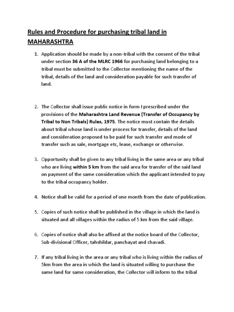 Procedure For Purchasing Tribal Land In Maharashtra Lease Civil