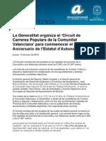 La Generalitat organiza el 'Circuit de Carreres Populars de la Comunitat Valenciana' para conmemorar el 30 Aniversario de l'Estatut d'Autonomia