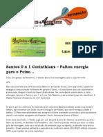 Santos 0 x 1 Corinthians – Faltou energia para o Peixe...