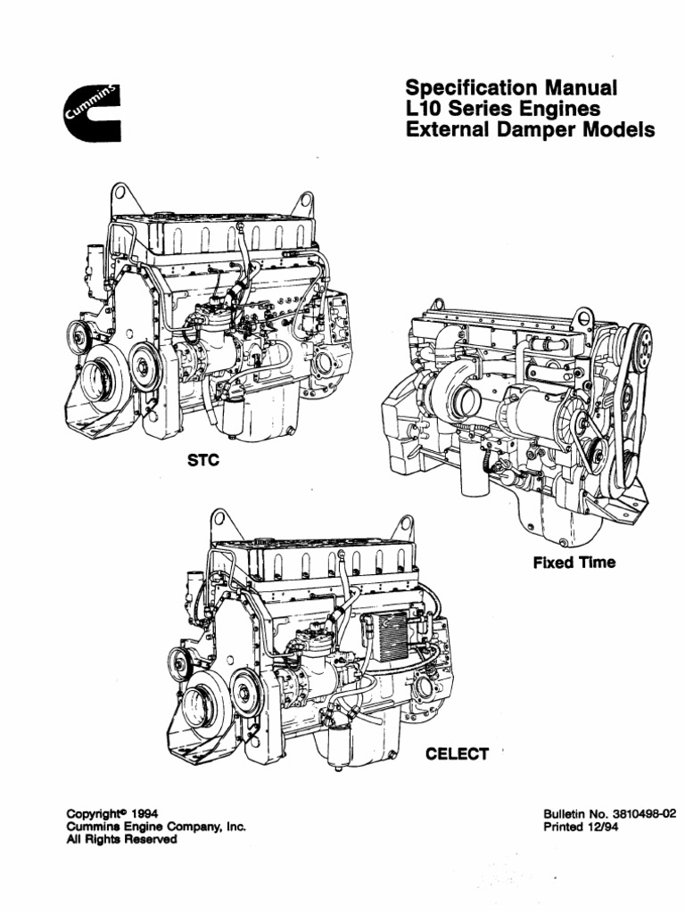 3810498 specifications manual l10 series engines external damper 3810498 specifications manual l10 series engines external damper models screw fuel injection