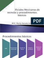 Normas Oficiales Mexicanas de técnicas y procedimientos básicos
