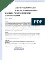 ARTICLE Connaissances Organisationnelles Dans Les Firmes de Services Professionelles