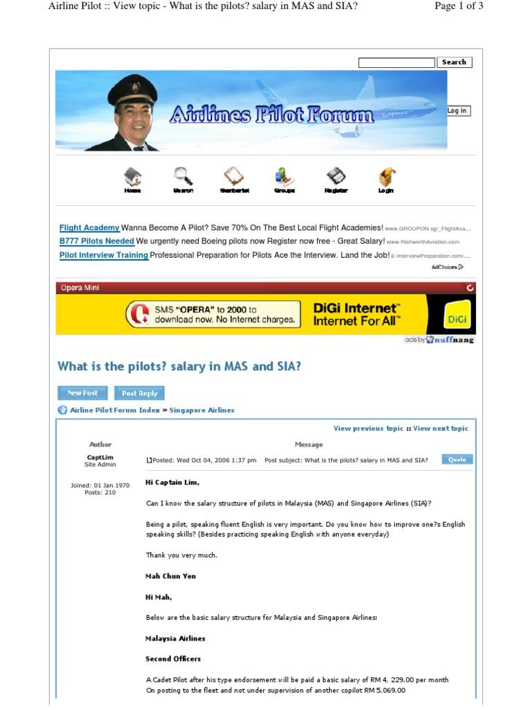 MAS & SIA Pilot Pay Comparison   Piloto (Aeronáutica)   Foro