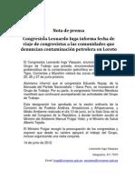 Se confirma viaje de grupo de congresistas a zonas afectadas por contaminación en Loreto