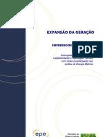 Instruções para cadastramento Leilão A-3 2012 - empreendimentos eólicos