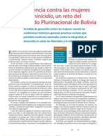 Violencia contra las mujeres y feminicidio, un reto del Estado Plurinacional de Bolivia