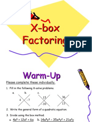 Diamond and Box Factoring Student Version | Factorization