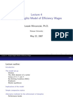 Shapiro Stiglitz Model of Efficiency Wages
