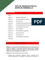 Reglamento de Anuncios Para El Municipio de Hermosillo.