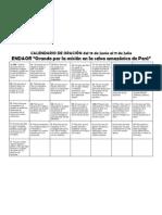 CALENDARIO DE ORACIÓN ENDAOR (PERÚ)