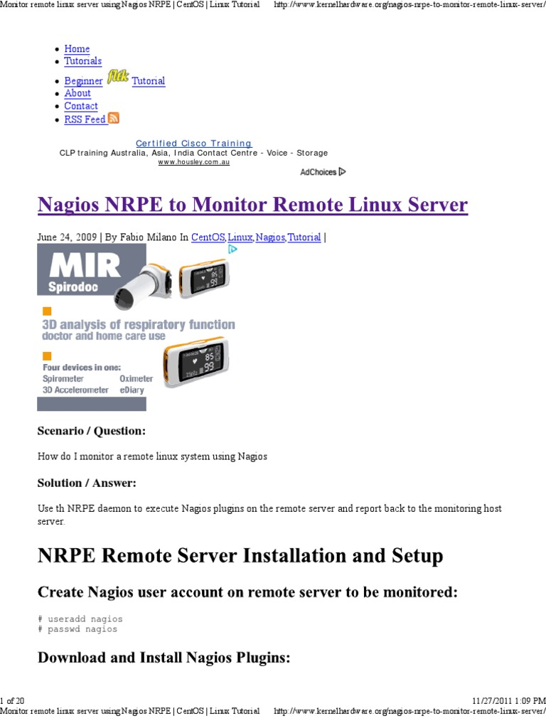 Monitor Remote Linux Server Using Nagios NRPE _ CentOS _