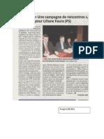 Une Campagne de Rencontres Pour L.faure - Le Progres - 5.06.12