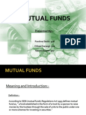 Mutual Funds PPT | Exchange Traded Fund | Mutual Funds