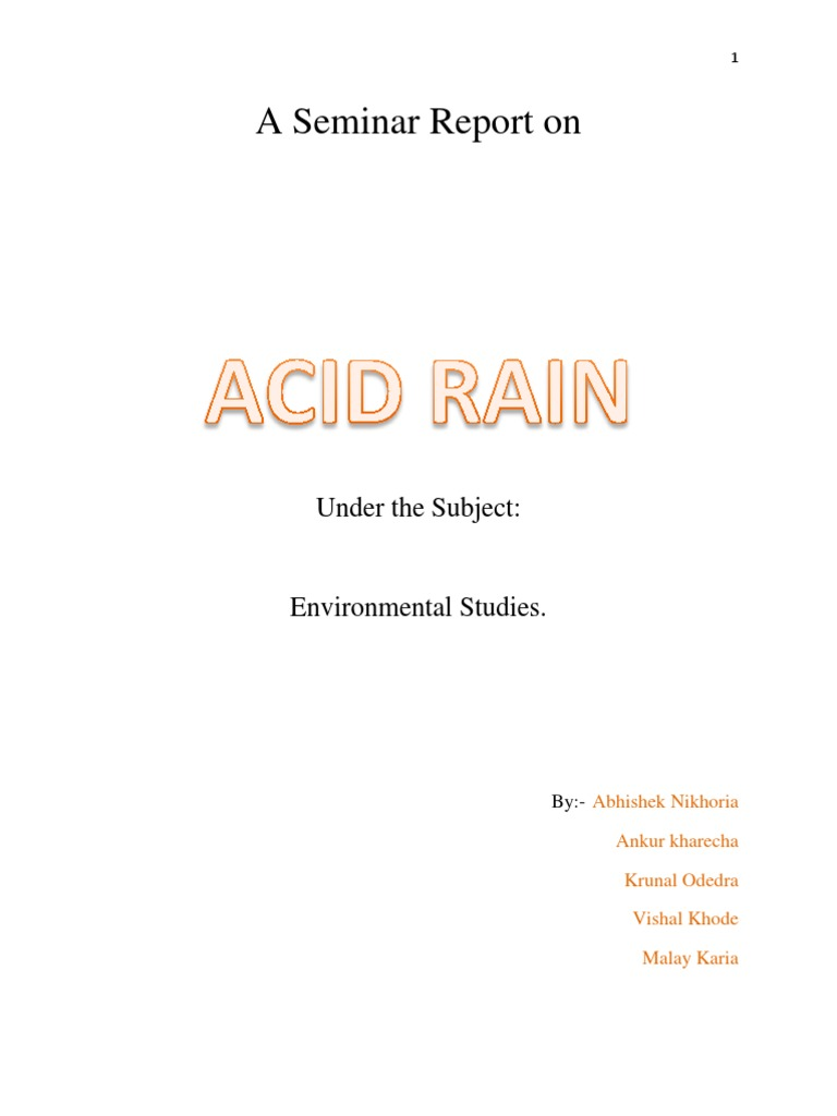 A seminar report on acid rain air pollution emissions trading yadclub Choice Image