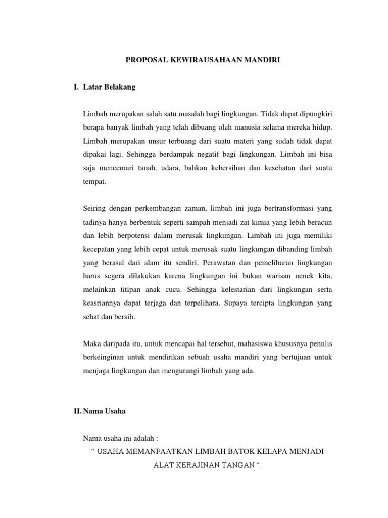 Proposal Kewirausahaan Mandiri