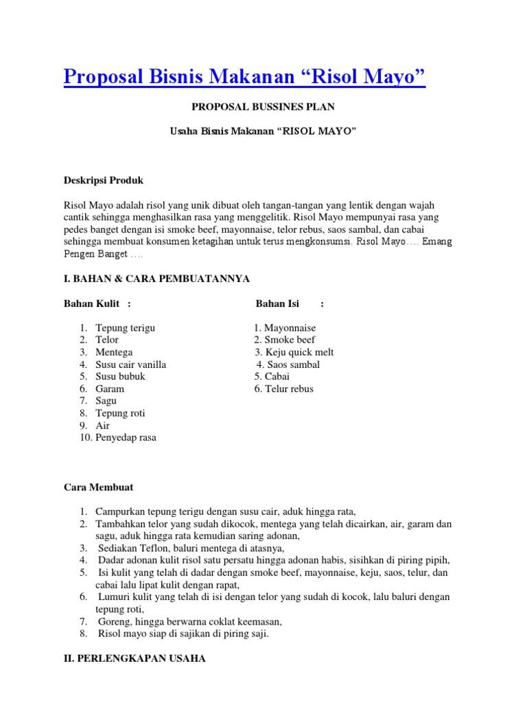 Proposal Bisnis Makanan