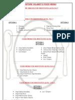 Food Menu for Institute