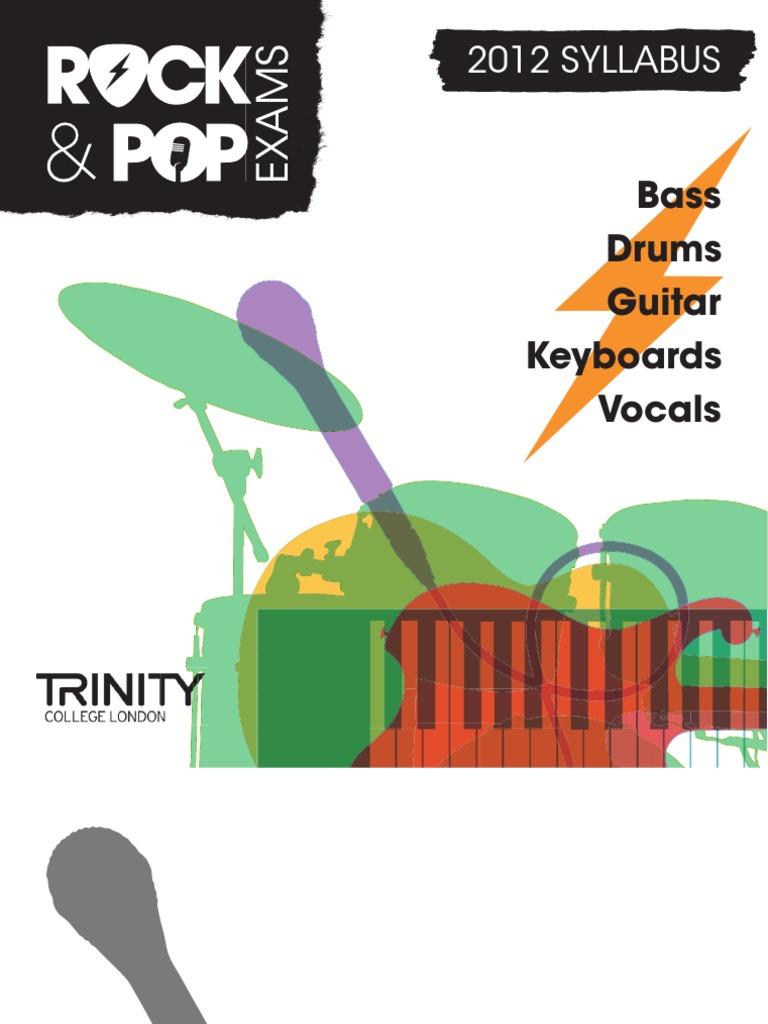 2012 Rock And Pop Syllabus Download Sheet Music Drum Kit