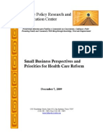 Small Business Perspectives and Priorities for Health Care Reform