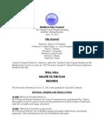 Medford City Council June 19 Regular Meeting Agenda