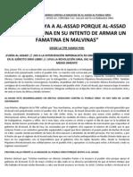 Comunicado de Prensa de La TPR - Marcha Siria