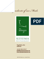 KESUMA Restaurant - Ingredients of Our Meals