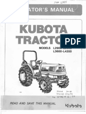 kubota L2900, L3300, L3600, L4200 owners manual pdf