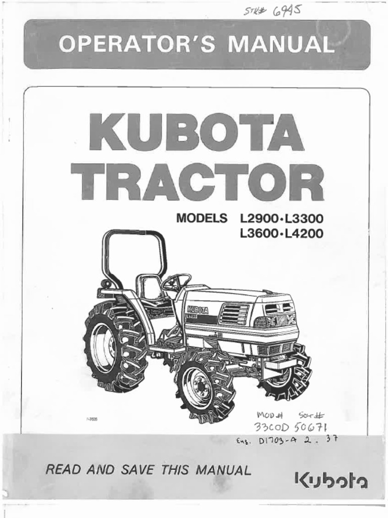 kubota l2900 l3300 l3600 l4200 owners manual pdf rh scribd com Kubota L3901 Tractor Cover Kubota L4630