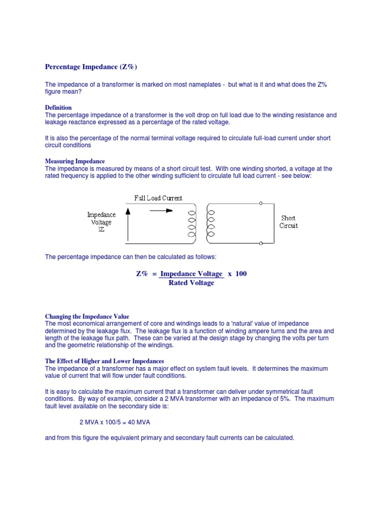 Percentage Impedance Transformer Electrical Shortcircuit Calculation Example