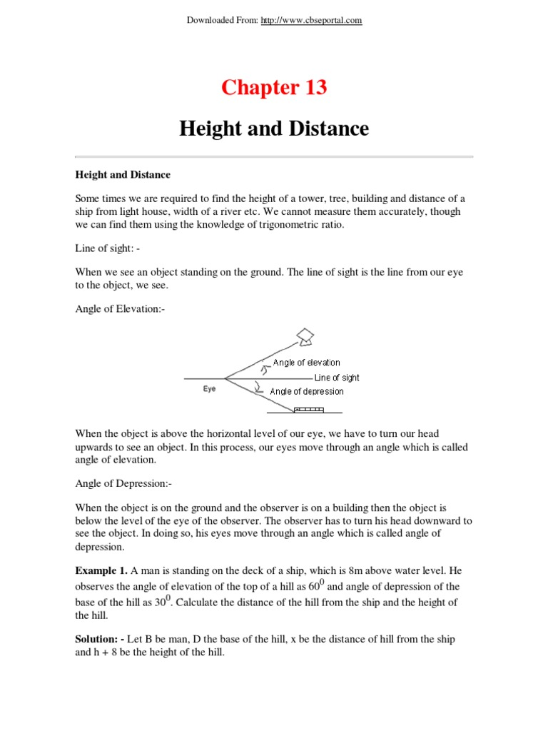 Class X E Book Maths Chapter 13 Height And Distance Angle Line