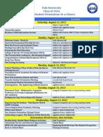 2012 Orientation Week at-A-Glance