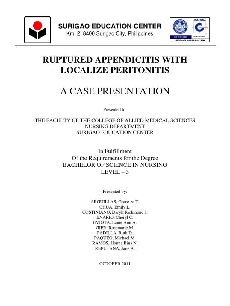 Case Study of Ruptured Appendicitis With Localize Peritonitis (Final ...