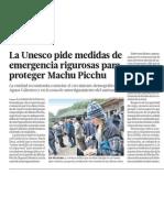 UNESCO pide proteger Machu Picchu