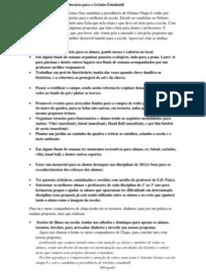 Discurso E Propostas Para O Grêmio Estudantil Voleibol