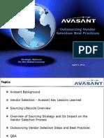 Avasant - Outsourcing Vendor Selection Webinar