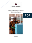 Mongolia Presidential Election Observation Report 2009
