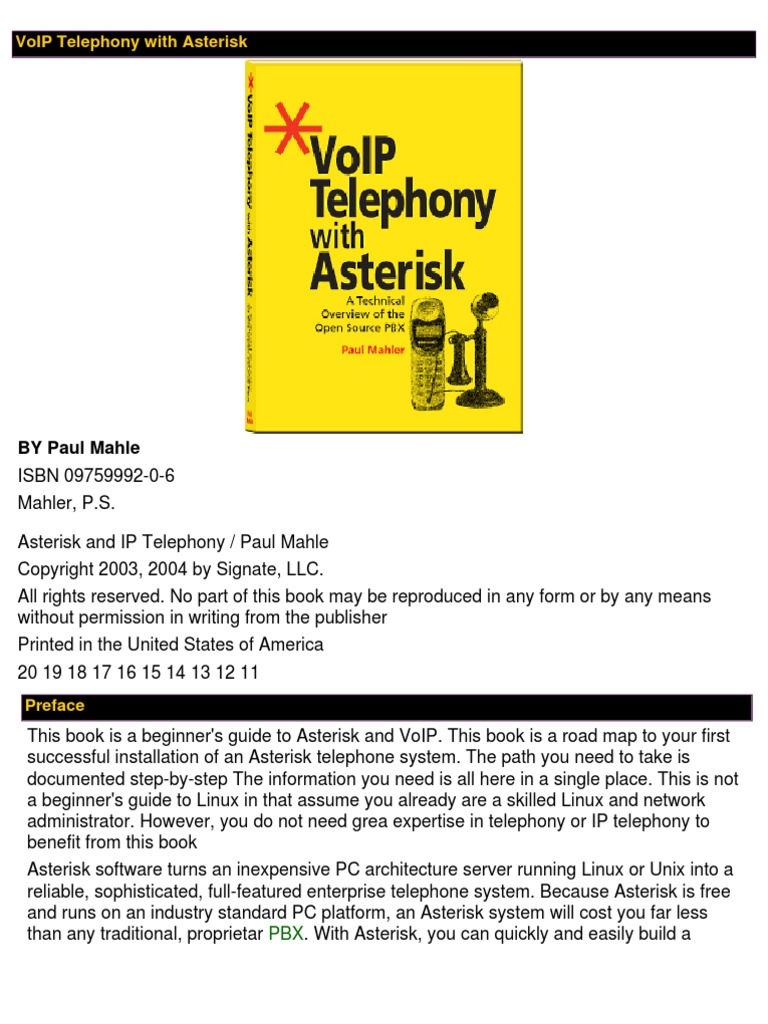 Voip Telephony With Asterisk Voice Over Ip Telephone