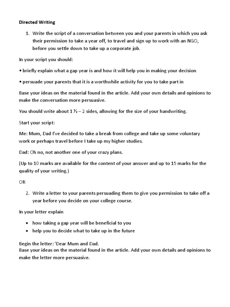 how to write a gap year letter