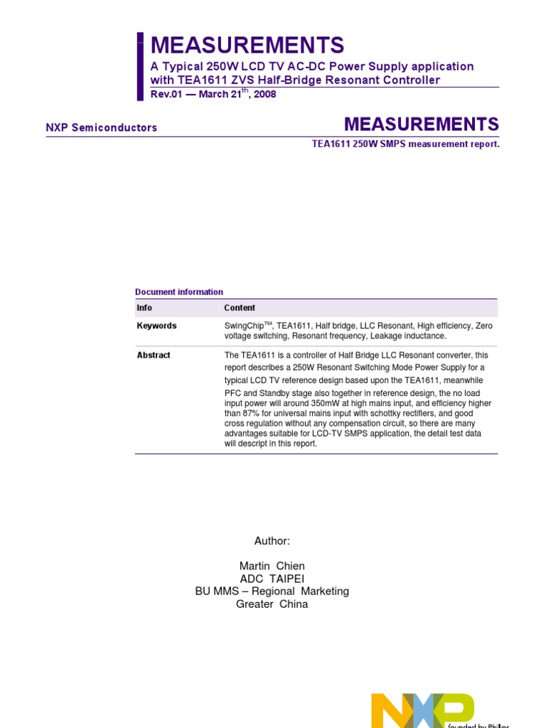 AN_TEA1611 250W SMPS Measurements | Power Supply