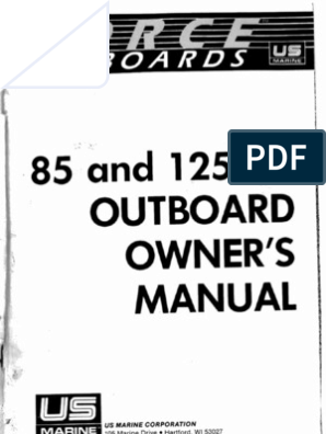 Force 85-125 HP Outboard Owners Manual on