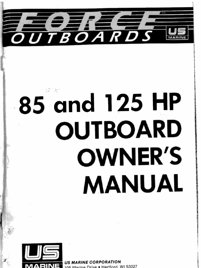Force 85 125 Hp Outboard Owners Manual Thunderbolt V Ignition Wiring Diagram
