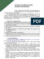 ETAPAS DA ELABORAÇÃO DO PROJETO DE PESQUISA