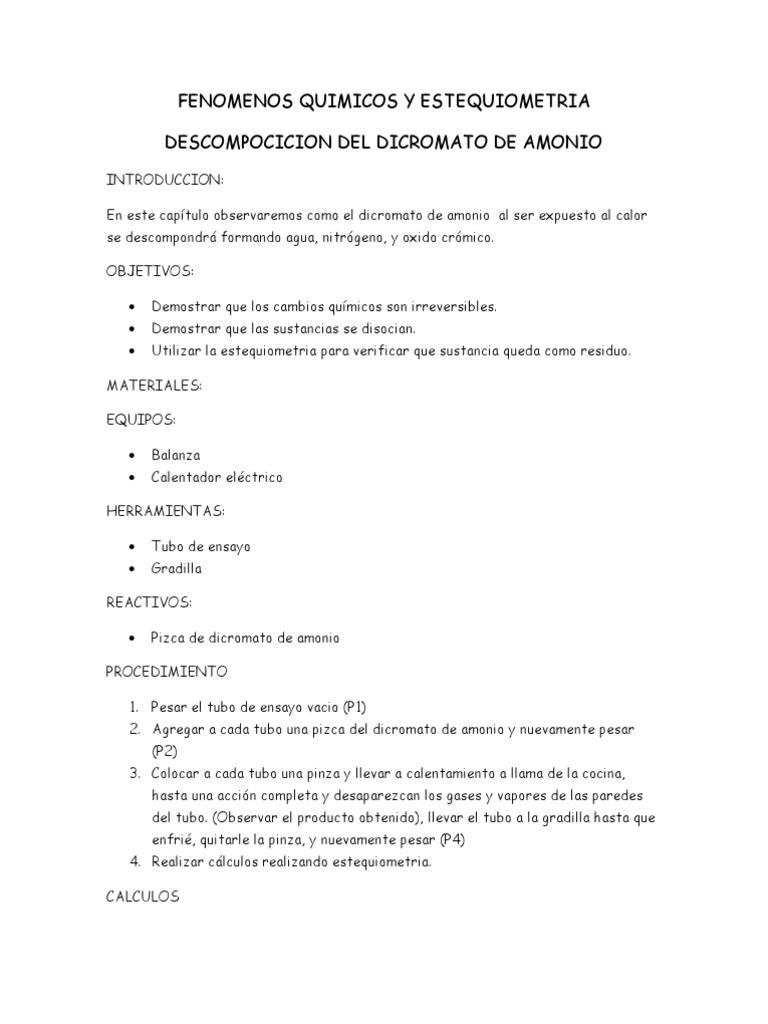 Fenomenos Quimicos y Estequiometria