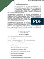 Sample Teacher Evaluation