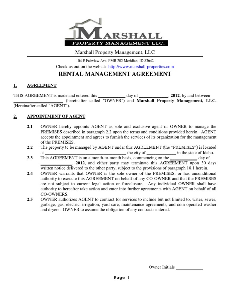 Property Management Agreement Lease Leasehold Estate