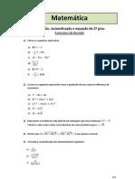 Fatoração, racionalização e equação de 2º grau