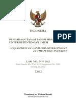 Law No 2 of 2012 Land Acquisition Indonesia Wishnu Basuki
